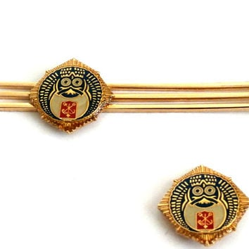 Mens Jewelry, Matching Gold tone Lapel Pin and Tie Clip Set, Vintage Set for Men from Croatia, Tie Bar Clip and Lapel Pin Set