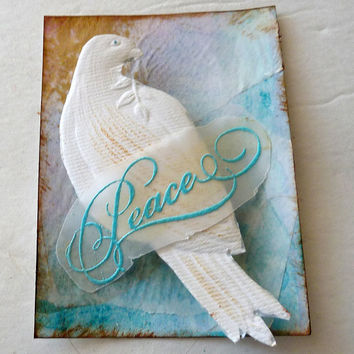 ACEO art trading card Peace white Christmas card  mixed media collage  Free Shipping