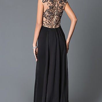 Beaded Illusion Back Evening Prom Dress by JVN by Jovani