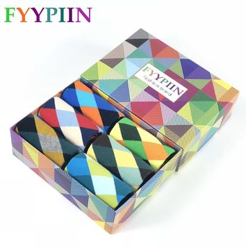 Mens Socks New 2018 6 Pairs/lot Gift Box Funny Men's Colorful Argyle Combed Cotton Socks Novelty Crew For Male Us Size 7.5-12