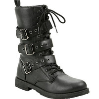 Black Triple Buckle Combat Boots