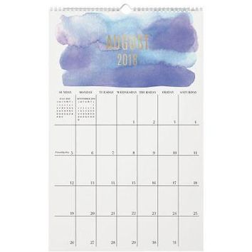 Watercolor Foil  Wall Calendar, Contemporary Art by Waste Not Paper