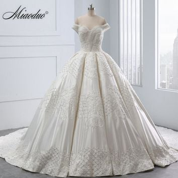 Miaoduo 2018 New Vestido De Noiva Sleeveless Sweetheart Pearls Beading Wedding Dress Lace up Vintage Ball Gown Wedding Dresses