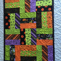 Halloween Patchwork Table Runner Quilt - Orange - Black - Lime Green