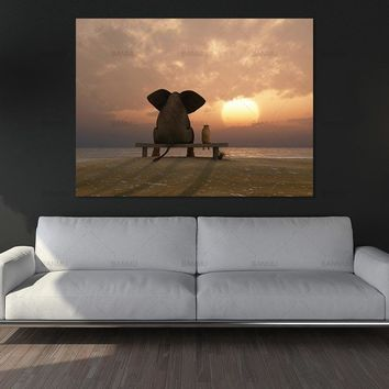 Nordic painting canvas wall art  cute pig see sunset Art Pictures poster decoration for living room prints on canvas no frame