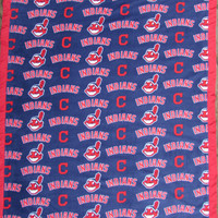 Cleveland Indians fleece throw blanet with satin edge