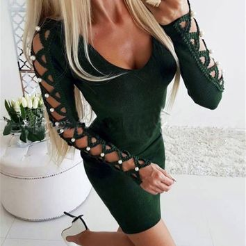 Summer Party Dress Women Gothic Hollow Out Sleeveless Bandage Dress Woman Party Night Ukraine Long Sleeve Mini Dress