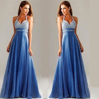 Sleeveless Ball Gown Chiffon Women's Fashion Spaghetti Strap Summer Prom Dress = 5861490881