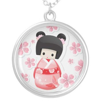 Japanese Geisha Doll - buns series Necklace from Zazzle.com