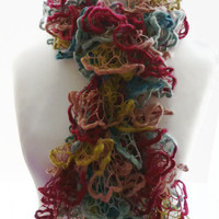 Hand knit scarf, multicolour knit lacey ruffle long scarf, UK shop