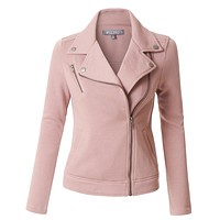 LE3NO Womens Fleece Long Sleeve Zip Up Moto Jacket with Pockets