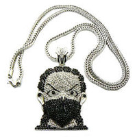 "NYFashion101 Iced Out Silver Tone Black Mask Man Pendant w/ 4mm 36"" Franco Chain MP472RBK"