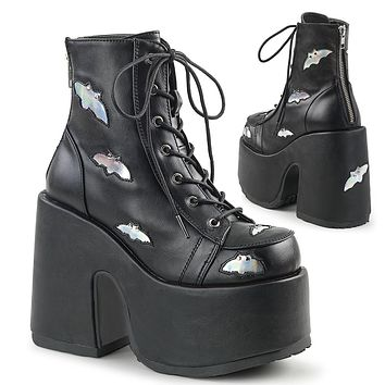 Demonia - CAMEL-201 - Black-Silver Hologram Vegan Leather - Women's Ankle Boots