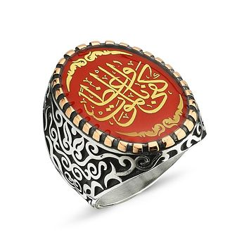 Calligraphy with black and red enamel 925k sterling silver mens ring