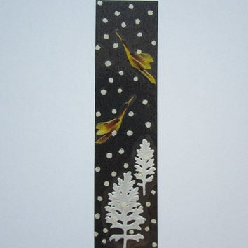 "Handmade unique bookmark ""Snowy Night"" - Decorated with dried pressed flowers and herbs - Original art collage."
