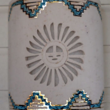 Sun face and Patina with Gold Step's Ceramic Outdoor Wall Light