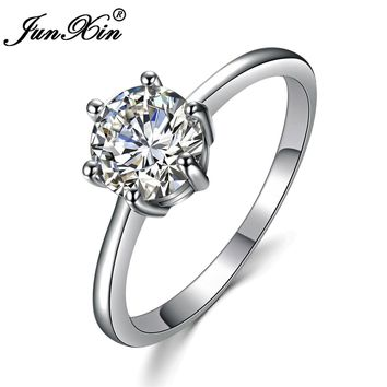 JUNXIN Female Cute Small Round CZ Ring Fashion White Gold Filled Jewelry Promise Engagement Rings For Women Birth Stone Gifts