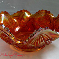 Antique Imperial Glass Marigold Carnival Glass Hobstar And Arches Ruffled Bowl EAPG
