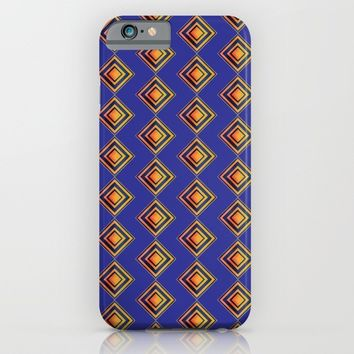 Geometric Blue and Golden Shapes Pattern iPhone & iPod Case by Paula Oliveira