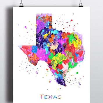 Texas Map Art Print - Unframed