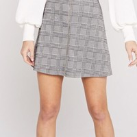 Zip Front Plaid Skirt