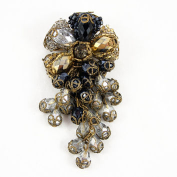 Vintage Miriam Haskell Signed Brooch Pin - Grey, Black and Gold Beads with Dangles