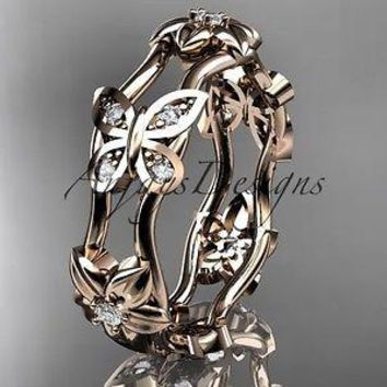 14kt rose gold diamond floral butterfly wedding band, engagement ring ADLR153