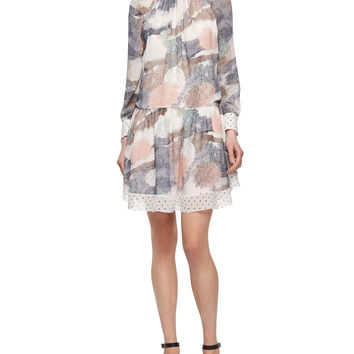 Long-Sleeve Printed Georgette Dress, Size: