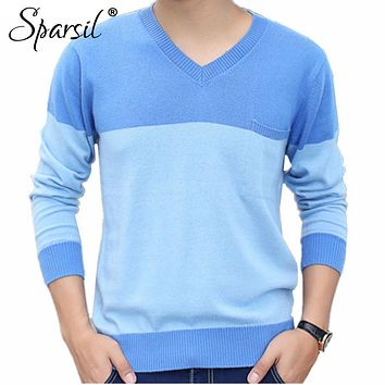 Sparsil Men's Winter V-Neck Patchwork Style Cashmere Blend Knitted Sweater Pullover Male Business Long Sleeve Soft Knitwear C6