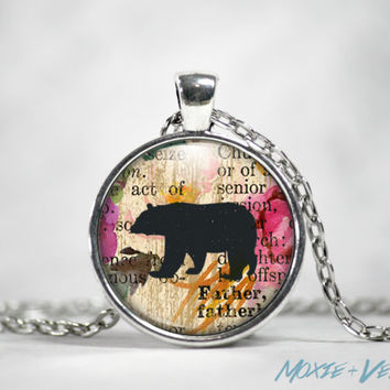 Black Bear Necklace, Mixed Media Collage Background, Glass Photo Jewelry, Bears, Nature