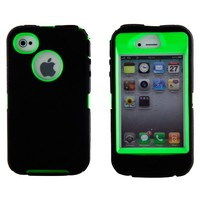 Boho Tronics Body Armor Defender Heavy Duty Hybrid Cover Case - Compatible With Apple iPhone 4 - Black And Green