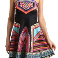 Black Strapless Printed Dress