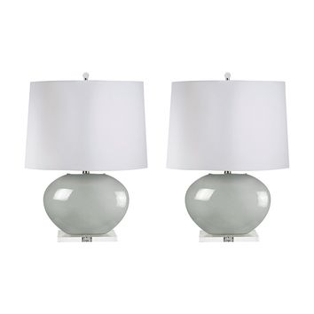 307G/S2 Blown Glass Oval Table Lamp In Grey - Set of 2