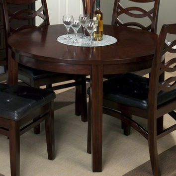 Jofran 863-48 Chadwick Round Dining Table w/ Crackled Glass Lazy Susan Insert
