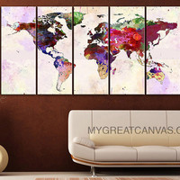 Canvas Print Colorful World Map - Paint Splash World Map Framed Giclee Map Canvas - Ready to Hang - Blue World Map