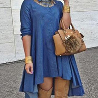 Blue Shirt Collar Ruffled Denim Dress
