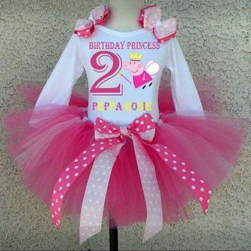 Peppa pig birthday tutu outfit