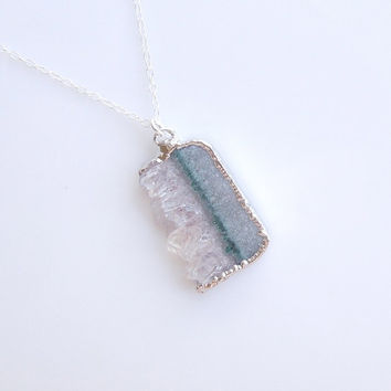 Druzy Green Amethyst Necklace - OOAK Jewelry