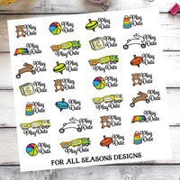 Planner Stickers - Play Date Children Play Toys- Fits Most Life Planners