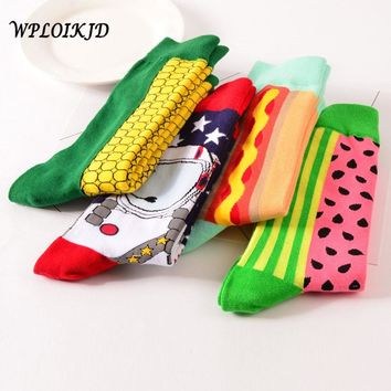 [WPLOIKJD]Funny Art Fashion Creative Character Watermelon Corn Spacemen Noodle Hot Dog Cloud Spray Astronaut Patterns Crew Socks