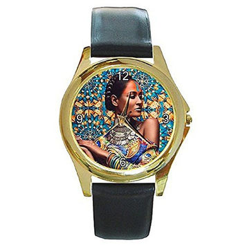 Beautiful Ethnic or Indian Women on a Womens Gold Tone Watch with Leather Band