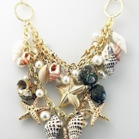 New Hot Chunky Sea Shell Starfish Faux Pearl Gold Statement Necklace / Bracelet Jewelry Set(WP-F257): Pearl Bib Necklace: Jewelr ...