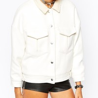 UNIF Short Boxy Wool Trucker Jacket With Faux Shearling Lining at asos.com