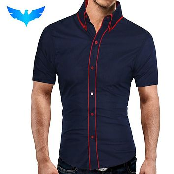 Fashion Male Shirt Short-Sleeves Tops Double Collar Button Design Mens Dress Shirts Slim Men Shirt
