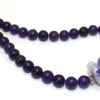 Chunky Amethyst, Purple Agates Discs and Sterling Silver Necklace