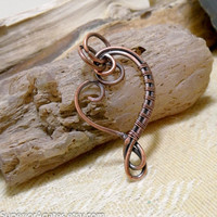 Antique Copper Heart Wire Wrapped Pendant