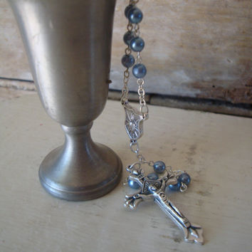 Vintage Antique Catholic  Rosary Blue Beads From Italy Silver toned Prayer Beads