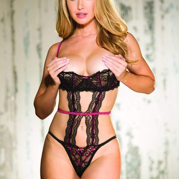 Shirley Of Hollywood Stretch Lace & Contrast Elastic Shelf Teddy