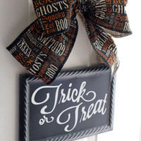 Trick or Treat Halloween Sign CHALKBOARD Metal Sign Hanging Black  - Write your own message  Interchangeable Bows