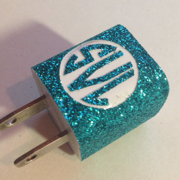 Glitter iPhone Charger Monogram in Circle (Full Charger)